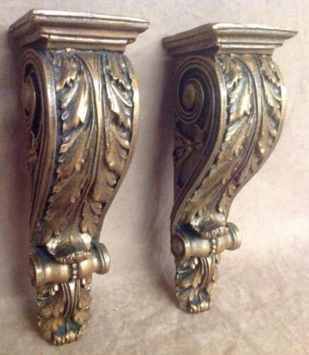 Shelf Acanthus leaf Wall Corbel Sconce Bracket Home Decor Pair Bronze Finish