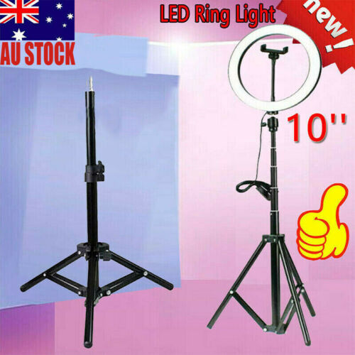 10'' LED Ring Light Studio Photo Video Dimmable Lamp Tripod Stand Selfie Camera