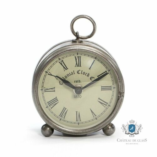 Colonial Antique Silver Round Metal Table Clock Vintage Bedside Desk 11x12cm
