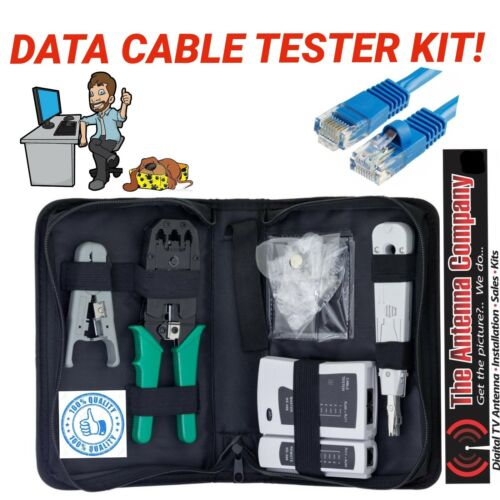 data cable tool kit complete with rj 45 plugs x 20 case tester stripper quality