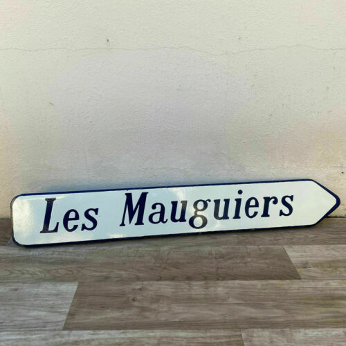 Old French Street road Enameled Sign Plaque vintage LES MAUGUIERS 1967 1705205