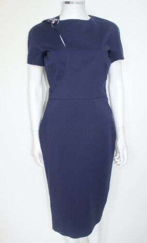 New Victoria Beckham Navy Blue Neck Belt Pencil Dress UK 12