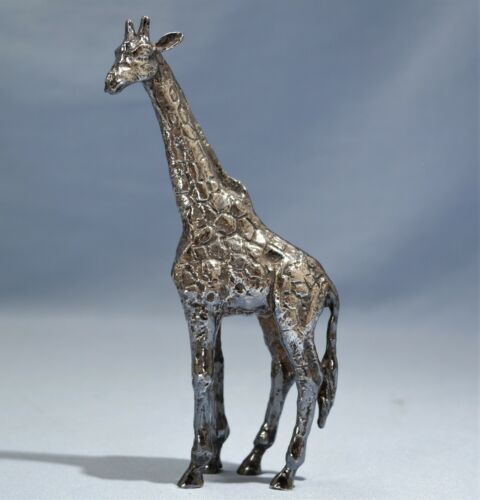 Sterling Silver Heavy Figure of a Giraffe 20th Century