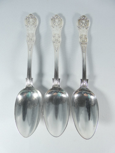 Antique Victorian 1866 Set of 3 Sterling Silver Queens Pattern Dessert Spoons