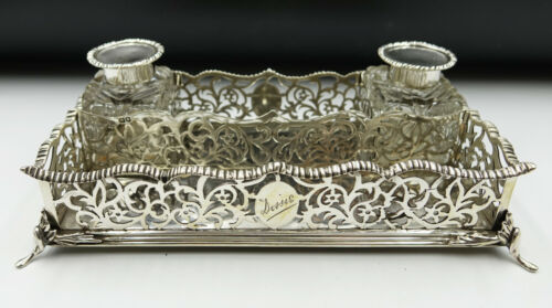 Victorian London Sterling Silver Desktop Inkwell by Charles Stuart Harris 1891