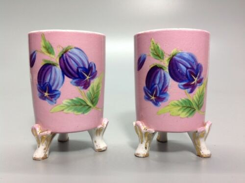 Pair of Antique Hand Painted Spill Vases