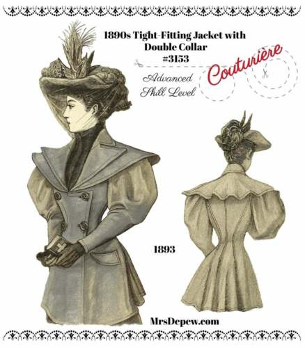 1890s Victorian Ladies' Tight Fitting Jacket Collar #3153 Antique Sewing Pattern