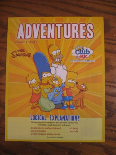 Burger King - The Simpsons - Adventures Leaflet - Vol. 19 Issue 11 - 2008
