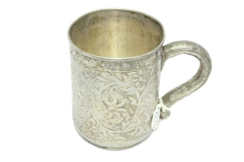 Antique Handmade Traditional Glass Cup Mug Alloyed Silver Hand Engraved Designs