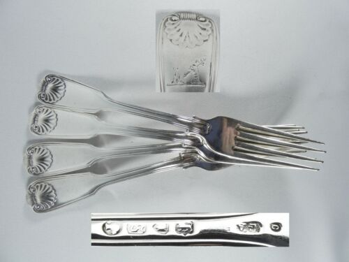 Antique Victorian 1873 Set of 4 Sterling Silver Dinner Forks Fiddle Thread Shell