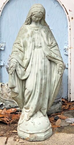 """MADONNA VIRGIN MARY CONCRETE ANTIQUE Statue large garden 1930s WEATHERED 24"""""""