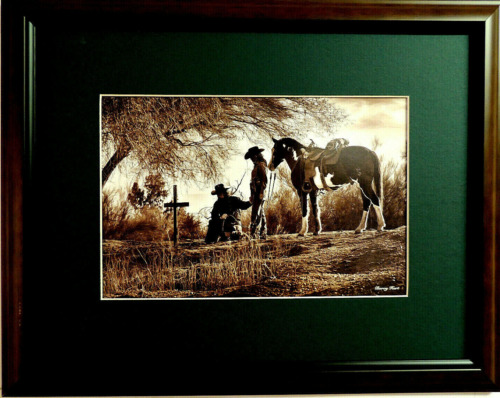 WESTERN COWBOY PICTURE PAYING RRESPECT BARRY HART MATTED FRAMED 17X13