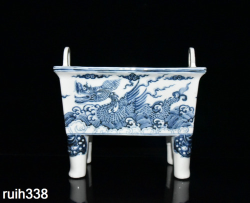 Chinese  ancient  Ming Dynasty  Blue and white  Dragon pattern  Incense burner