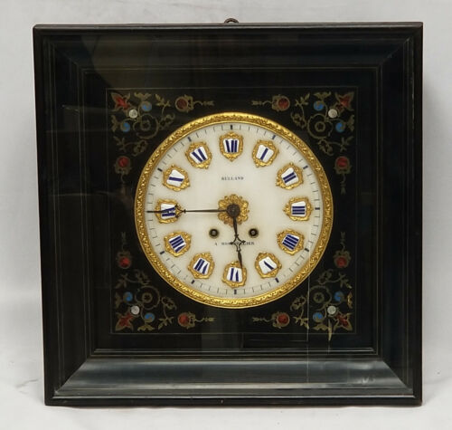 ANTIQUE 19c. FRENCH EBONISED & BRASS INLAID STRIKING WALL CLOCK  MONTPELLIER