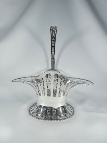 Antique Edwardian 1913 Sterling Silver Bread Basket Bowl Handle Serving Dish