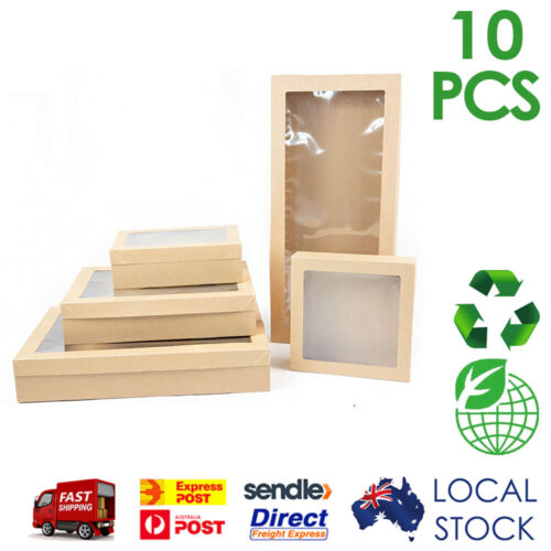 10x Brown Kraft Premium Disposable Cardboard Catering Grazing Boxes w/ Window