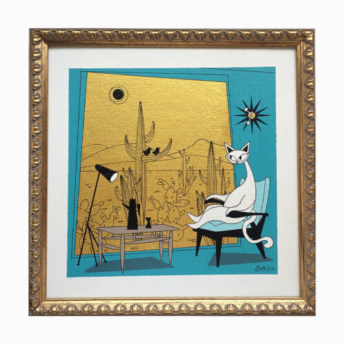 FREE SHIPPING El Gato Mid Century Modern Atomic Cats Gomez Style Painting