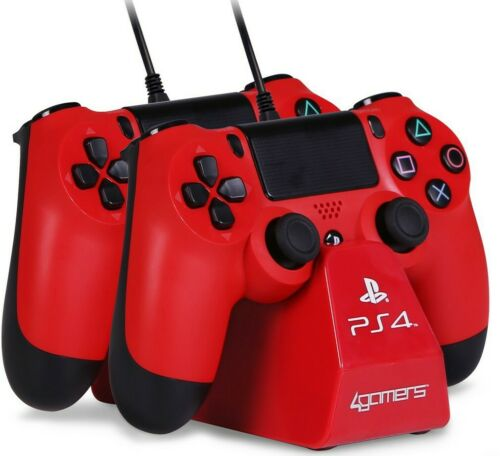 4Gamers PS4 Duel Controller charging dock RED
