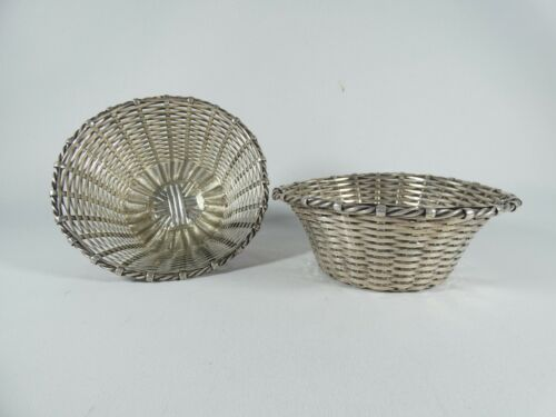 Antique Vintage Very Fine Pair of Silver Plated Plate Basket Weave Bowls Dishes