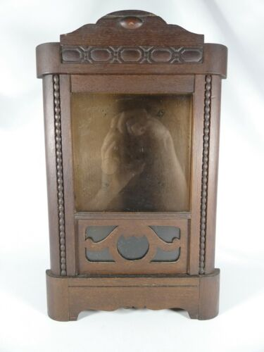 Antique Vintage English Oak Clock Case Only Wood Wooden Timber Art Deco Glass