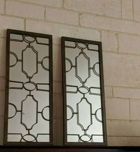 PAIR set art deco or french provincial style antique brown wall MIRROR   NEW