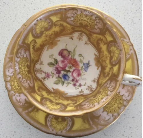Royal Worcester England Cup + Saucer Hand Painted + Gilded Sign E.Phillips EUC