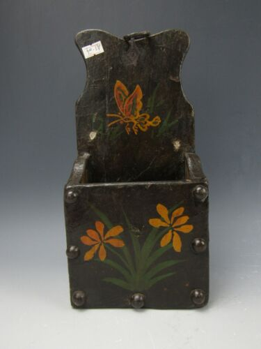 A Chinese Wood Chopstick Box With Flower Pattern Hand Painted Art Piece