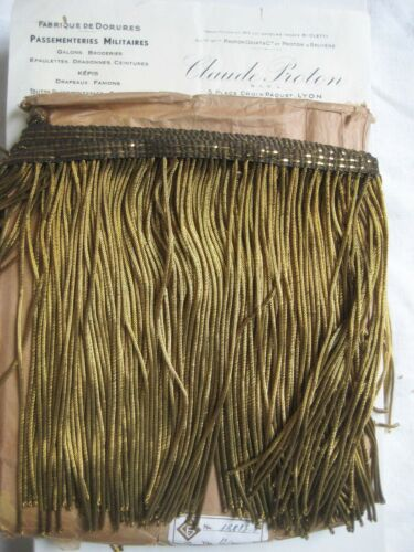 "1 yd SPECIAL PRICE Antique Vintage UNUSED French 8"" Gold Metallic Bullion Fringe"