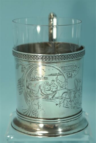 Art Nouveau Russian Imperial 875 Silver Engraved Troika Glass Holder w/Glass Cup