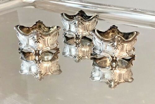 ANTIQUE FRENCH STERLING SILVER AND CRYSTAL SALT & PEPPER SET OF THREE 3