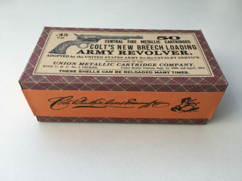 DECO Colt's new Breech loading Army Revolver .45 Cal Ammo Box Antique Old West