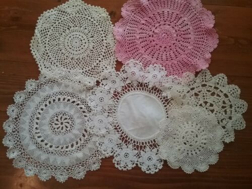 LOT OF 6  VINTAGE CROCHETED AND LACE  DOILIES