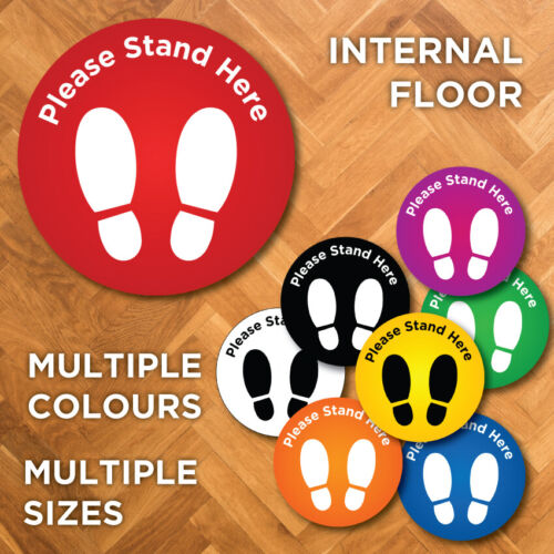 Internal / Indoor Social Distancing Distance Floor Sticker stand here <br/> WATERPROOF,   Australian made,   NON-SLIP,   EASY APPLY
