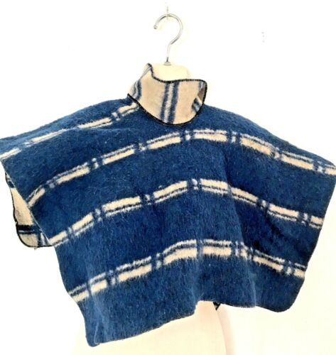 Vintage south american woven native reversible child's Poncho with Collar
