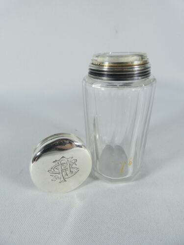 Antique Edwardian 1915 Sterling Silver Cut Glass Perfume Scent Vanity Bottle Jar