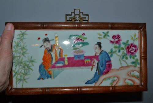 Antique Chinese Famille Rose Porcelain Plaque Faux Bamboo Wood Frame