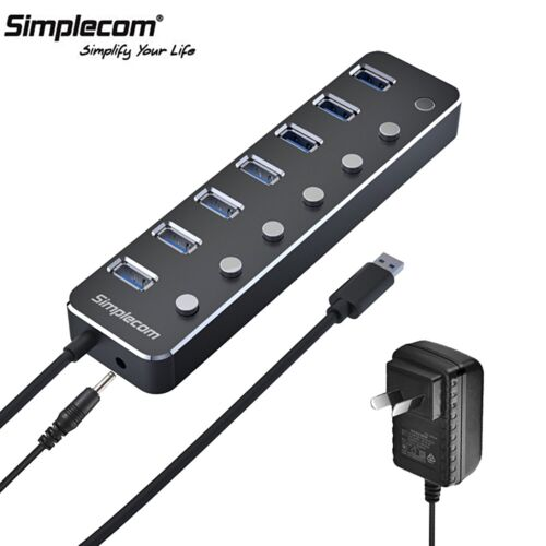 Simplecom CH375PS Aluminium 7 Port USB 3.0 Hub with Switches and Power Adapter