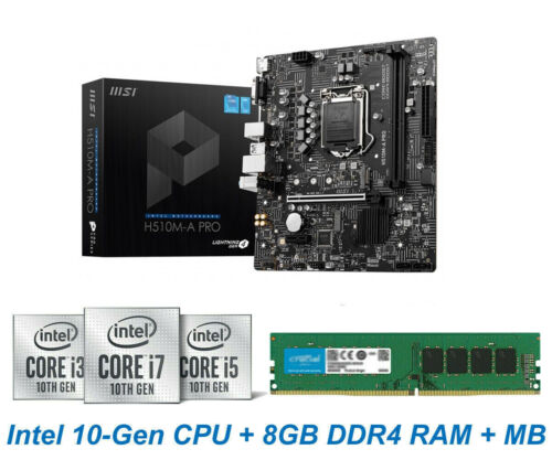 Intel 10th-Gen Core-i3 10105 CPU 8GB DDR4 RAM H510 Chipset MB PC Upgrade Combo