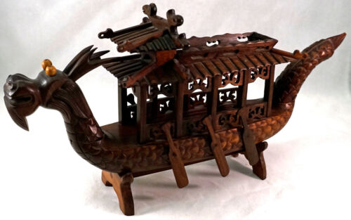 OLD Hand Carved Chinese Hard Wood Dragon Boat Movable Oars on Stand