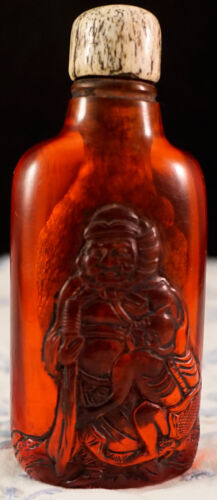 Antique Carved Snuff Bottle Genuine Cherry Amber with Immortal and Servant
