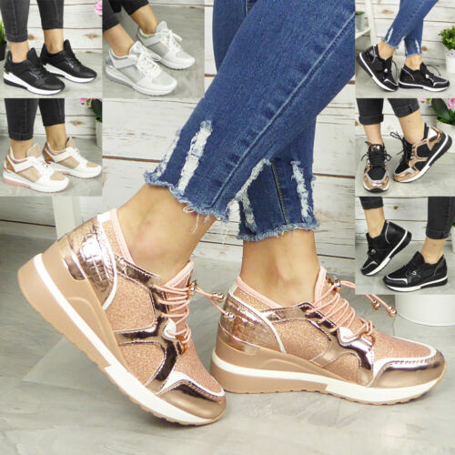 Ladies Wedge Trainers Womens Sneakers Lace Up Comfy Classic Bling Pumps Shoes