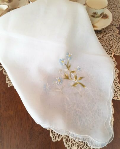 Vintage 1966 *Tetron FOOD THROW-INSECT GUARD* Blue Embroidered Flowers - JAPAN