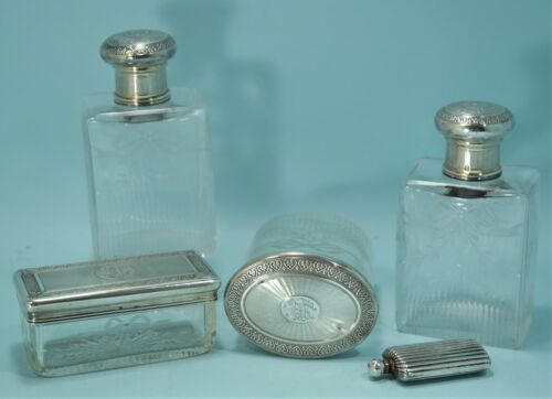 French Guilloche Silver & Clear Etched Glass Vanity Set Sterling Snuff Bottle