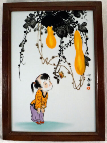 Signed Chinese Hand Painted Porcelain Tile Plaque Girl & Butterfly Wood Frame