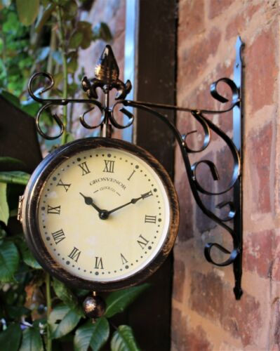 Garden Station Wall Clock Thermometer Double sided Swivels Vintage