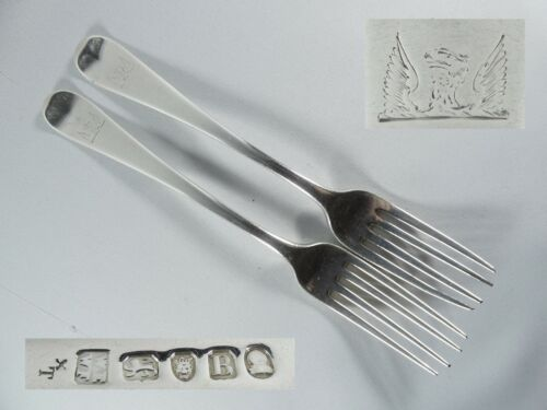 Antique Georgian 1797 Pair of Sterling Silver Dinner Forks William Eley Fearn