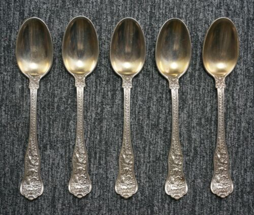 TIFFANY Sterling Silver OLYMPIAN Pattern Gold Wash DEMITASSE SPOONS - Set of 5