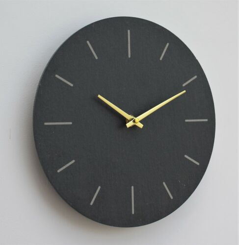 Wall Clock Grey natural Slate Indoor Outdoor Hand Finished clock 30cm