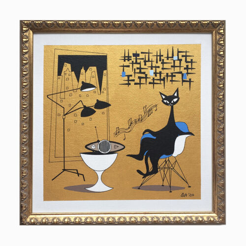 FREE SHIPPIN Mid Century Modern Eames Chair El Gato Atomic Cat Painting Wall Art