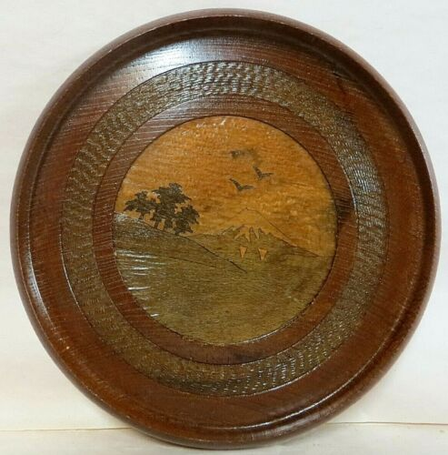 Vintage Japanese hand-made wooden plaque, turned and inlaid (marquetry)